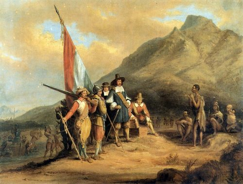 Jan van Riebeek a su llegada a los territorios del Cabo.